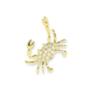 14k Yellow Gold Crab Pendant with Diamonds