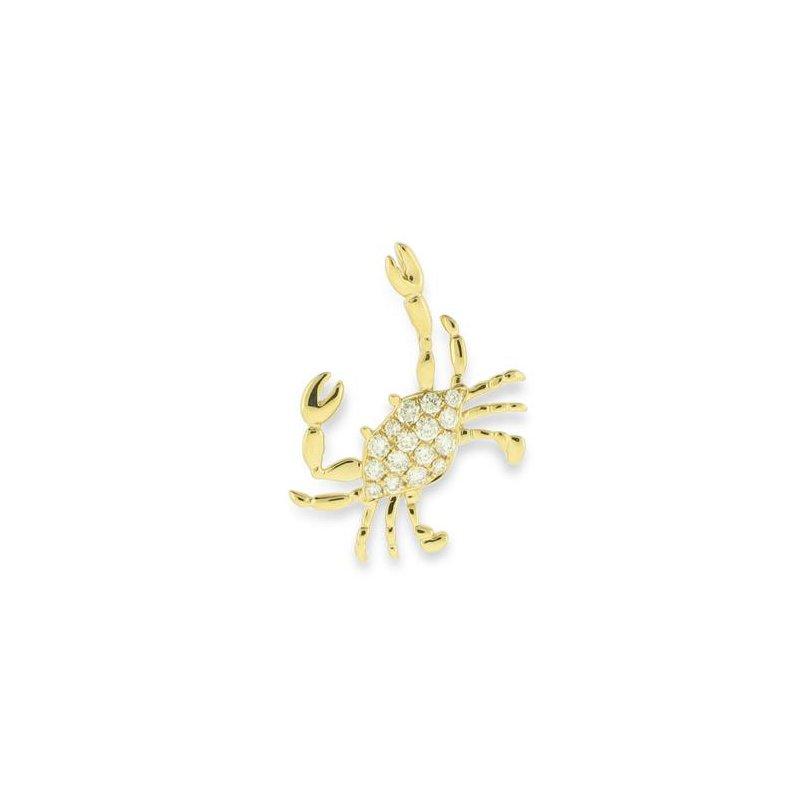 Sealife Jewelry 14k Yellow Gold Crab Pendant with Diamonds