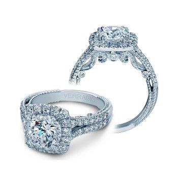 Verragio Insignia-7062CUL - 18k White Gold Cushion Halo Style Diamond Engagement Ring by Verragio