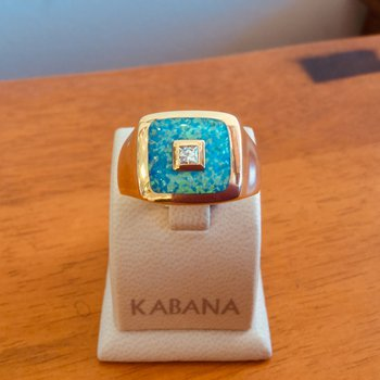 14k Yellow Gold Australian Opal and Diamond Ring - #34662