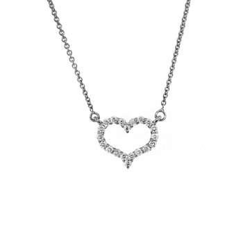 14k White Gold Diamond Heart Necklace - #37838