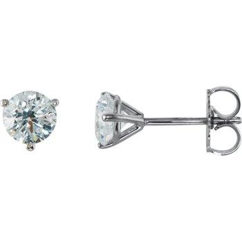 14k White Gold Martini Set 3-prong Diamond Stud Earrings - 1.00ctw