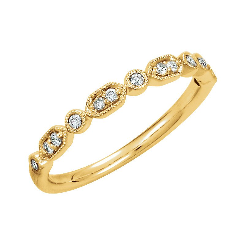 Signature Collection 14k Yellow Gold Diamond Stackable Ring with Geometric Shapes