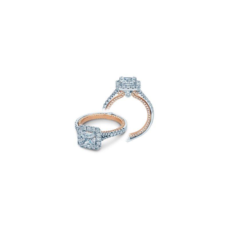 Verragio Verragio Couture-0434P - 14k White Gold and Rose Gold Diamond Princess Cut Halo Style Engagement Ring by Verragio