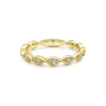 14k Yellow Gold Stackable Diamond Band by Gabriel NY