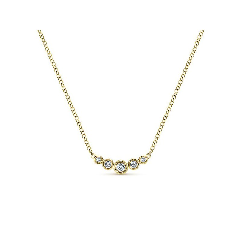 Signature Collection 14k Yellow Gold Bar Diamond Necklace by Gabriel NY