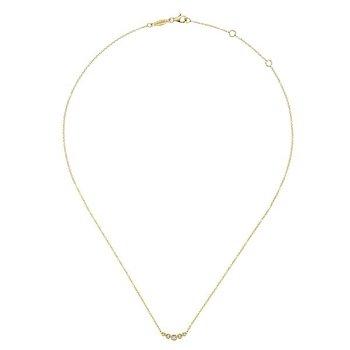14k Yellow Gold Bar Diamond Necklace by Gabriel NY