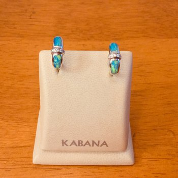Kabana Huggie Australian Opal Inlay and Diamond Earrings in 14k White Gold