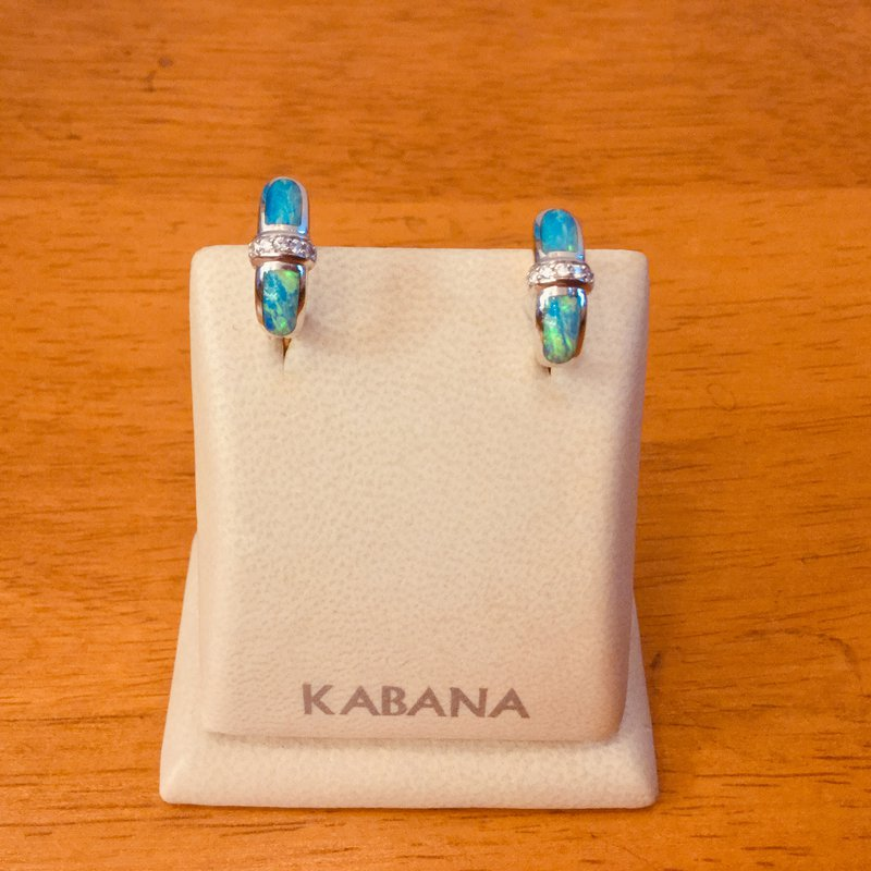 Kabana Jewelry Kabana Huggie Australian Opal Inlay and Diamond Earrings in 14k White Gold