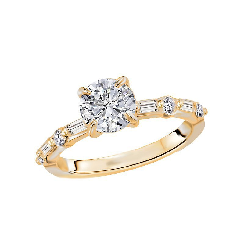 Signature Collection 14k Yellow Gold Baguette and Round Diamond Engagement Ring