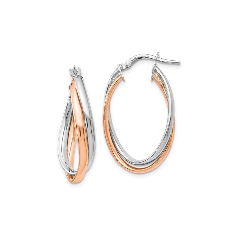 Signature Collection 14k White and Rose Gold Hoop Earrings