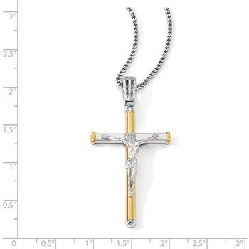 14k White and Yellow Gold Large Crucifix Pendant