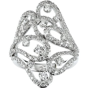 18k White Gold Scroll Diamond Anniversary Ring - #42469