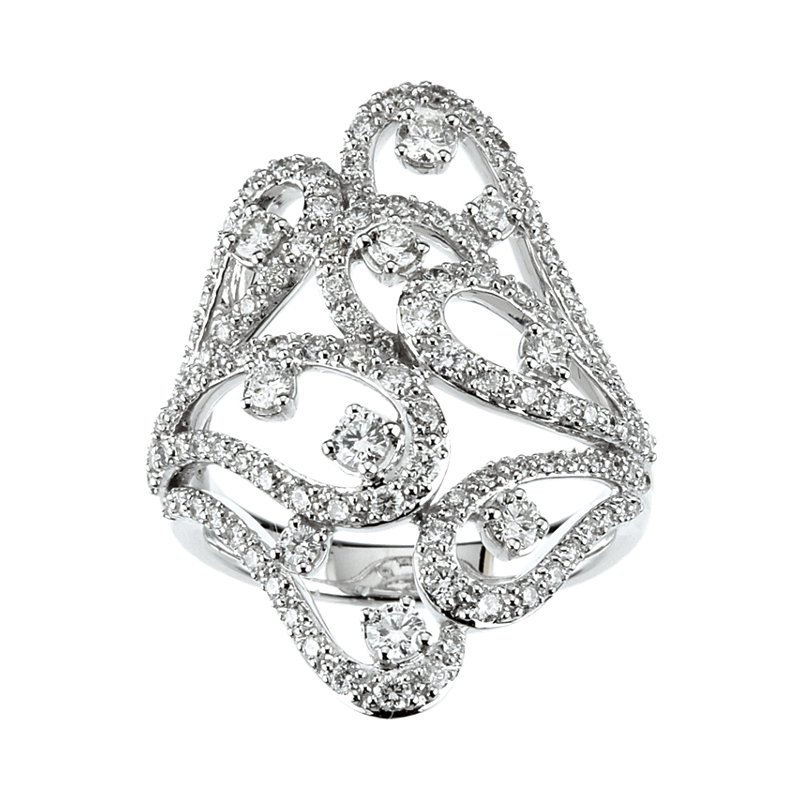 Signature Collection 18k White Gold Scroll Diamond Anniversary Ring - #42469