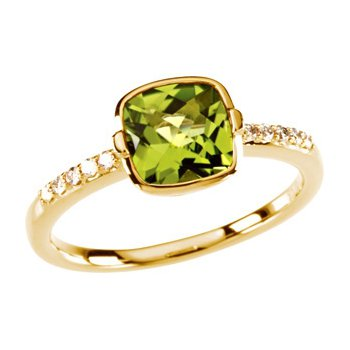 Genuine Checkerboard Peridot & Diamond Ring