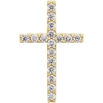 14k Yellow Gold 1/4ctw Diamond Cross Pendant