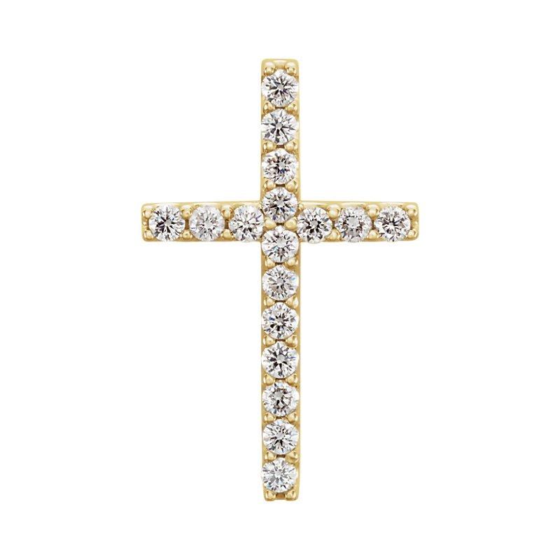 Crosses, Religious & Symbolic Jewelry 14k Yellow Gold 1/4ctw Diamond Cross Pendant