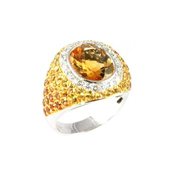 Genuine Citrine, Spessartite, Yellow Sapphire & Diamond Ring in 18k White Gold