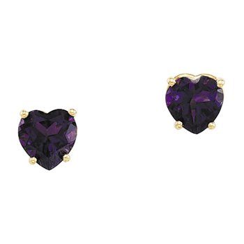 Genuine Amethyst Heart Earrings