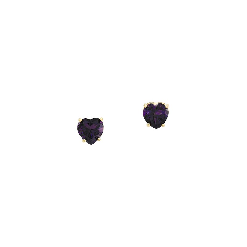 Signature Collection Genuine Amethyst Heart Earrings