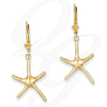 Quality Collection Sealife 14k Yellow Gold Leverback Starfish Earrings