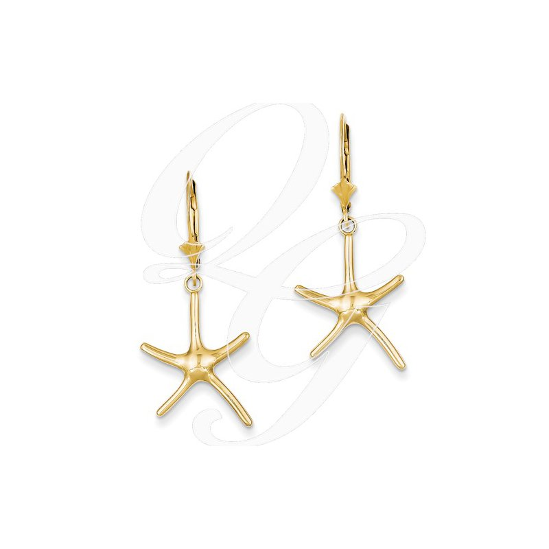 Sealife Jewelry Quality Collection Sealife 14k Yellow Gold Leverback Starfish Earrings