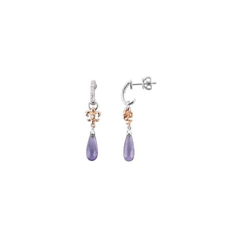 Signature Collection Genuine Amethyst Briolette & Diamond Fleur-de-Lis Earrings
