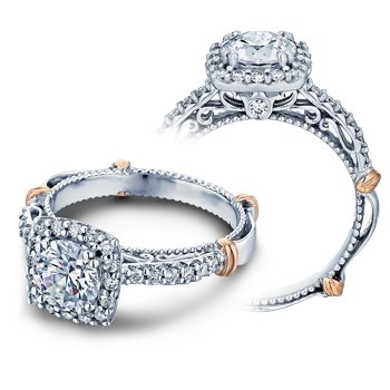 Verragio Parisian-123CU - 14k White and Rose Gold Diamond Halo Engagement Ring by Verragio