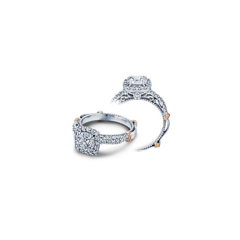 Verragio Verragio Parisian-123CU - 14k White and Rose Gold Diamond Halo Engagement Ring by Verragio