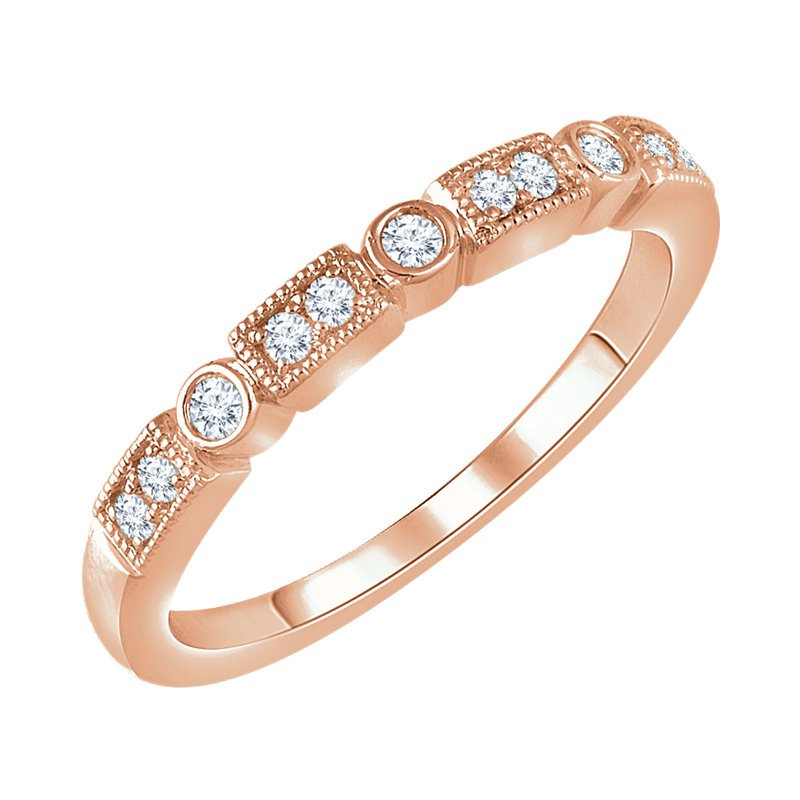 Signature Collection 14k Rose Gold Diamond Stackable Ring with Circles and Squares