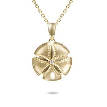 14k Yellow Gold Satin Finish Diamond Sand Dollar Pendant