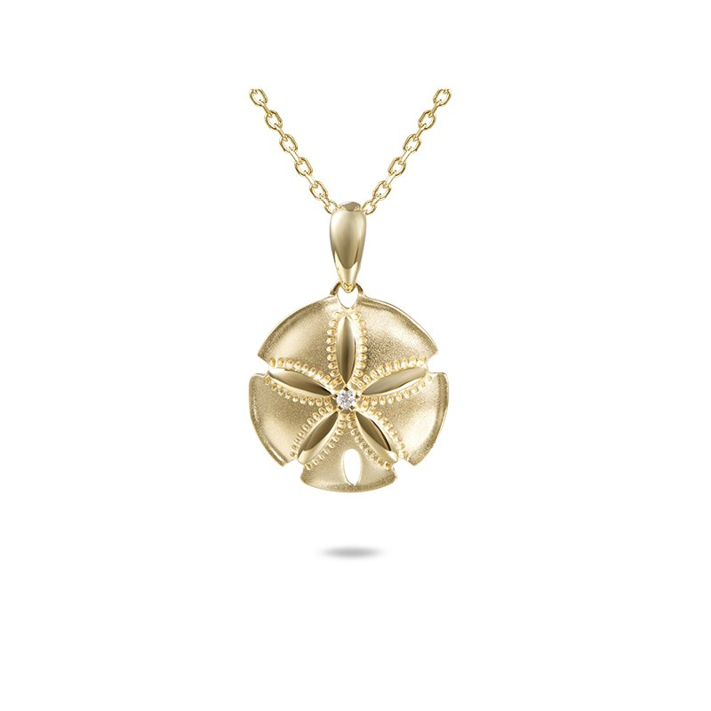 Sealife Jewelry 14k Yellow Gold Satin Finish Diamond Sand Dollar Pendant