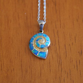Kovel Sea Life Collection Nautilus Shell Lab Created Opal