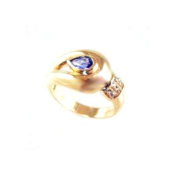 Genuine Tanzanite Ring in 14k Yellow Gold