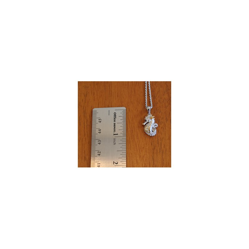 Kovel Sealife Sterling Silver and 18k Gold Plate Petite Seahorse Pendant with White Mother of Pearl Inlay