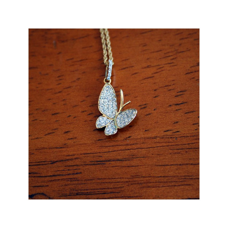 Signature Collection 18k Yellow Gold Butterfly Pendant consisting of round brilliant Diamonds weighing an approximate total 0.40cts