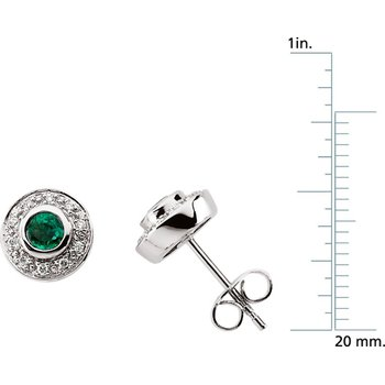 Genuine Emerald & Diamond Earrings - EL419134