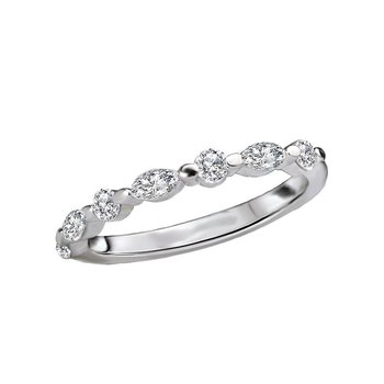 14k White Gold Marquise & Round Brilliant Diamond Wedding Band