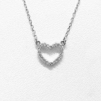 14k White Gold Diamond Heart Necklace - #36990