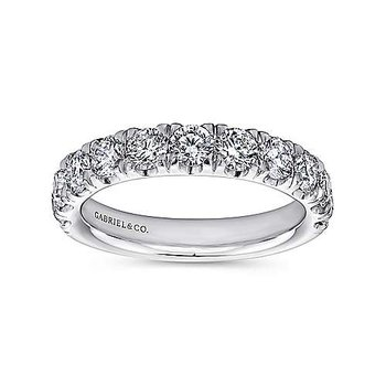 14k White Gold 11 Stone French Set Diamond Ring by Gabriel NY