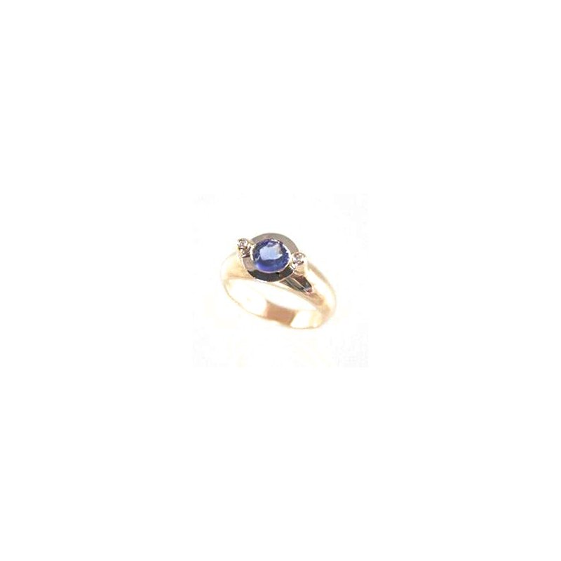 Signature Collection Genuine Tanzanite and Diamond Ring in 14k Yellow Gold