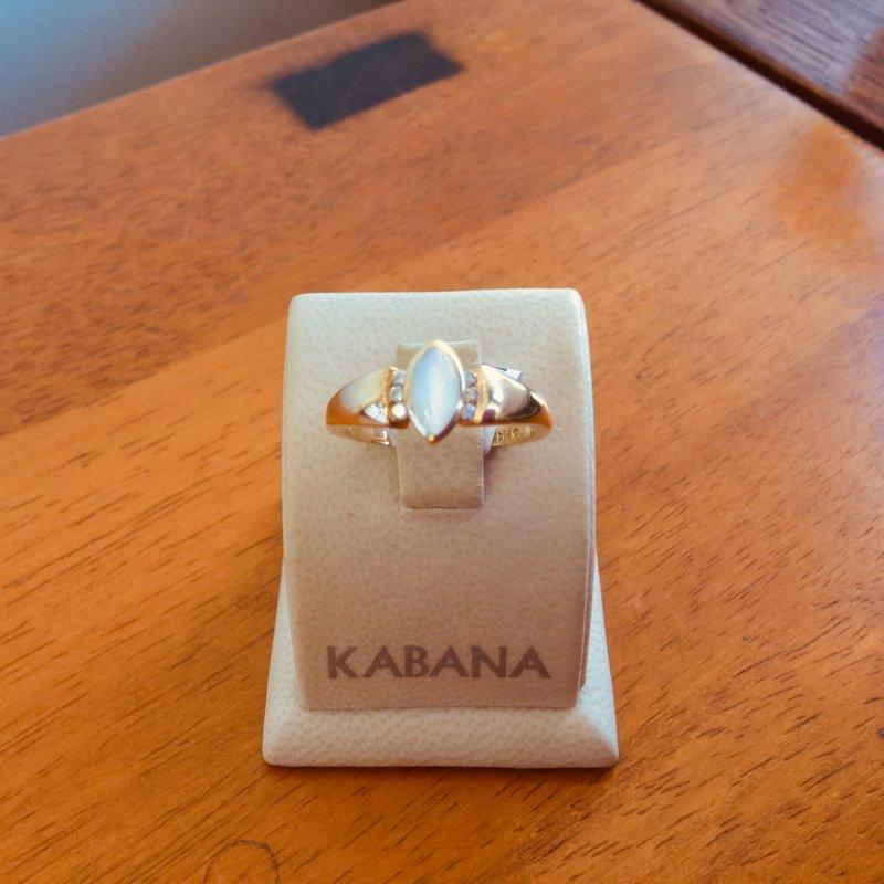 Kabana Jewelry Kabana White Mother of Pearl Inlay and Diamond Ring in 14k Yellow Gold