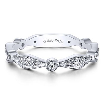 Gabriel NY 14k White Gold Stack Diamond Ring Style #LR4749W45JJ