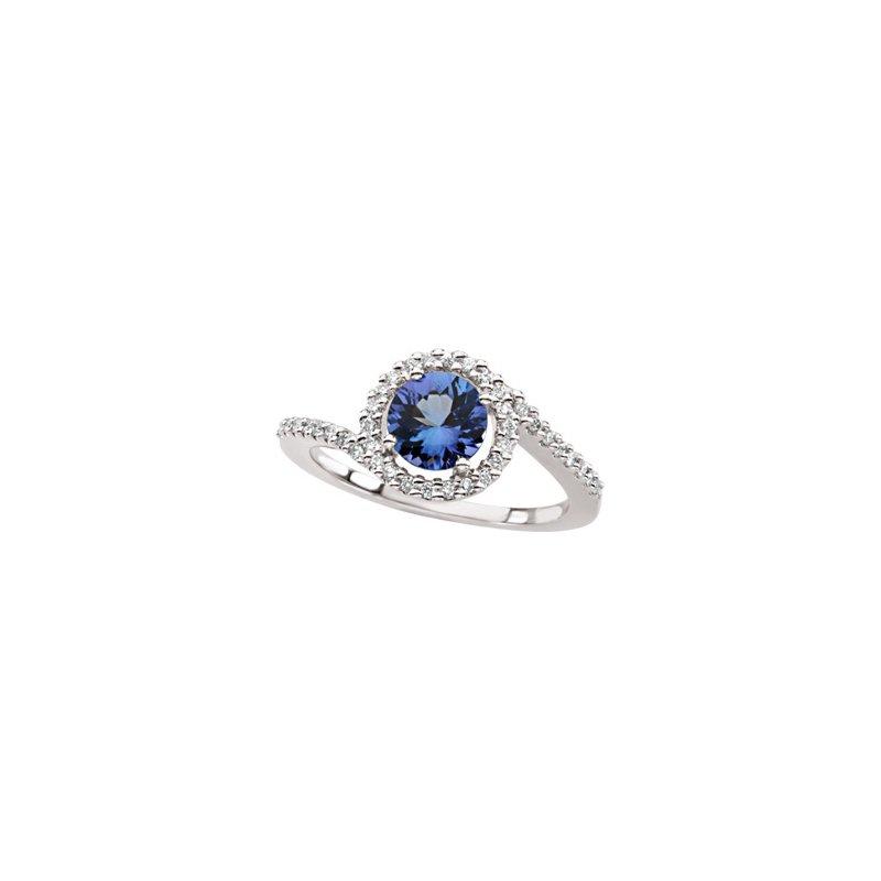 Signature Collection Genuine Tanzanite & Diamond Ring