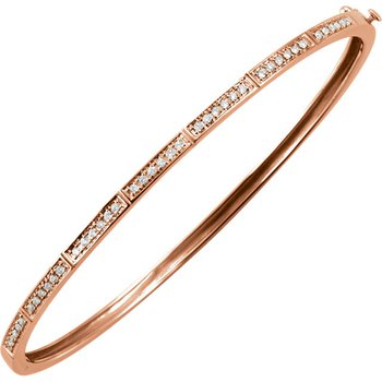 14k Rose Gold Diamond Bangle Stack Bracelet - ELI64187SS