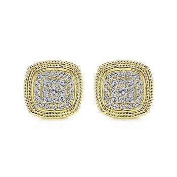 14k Yellow Gold Diamond Cluster Earrings