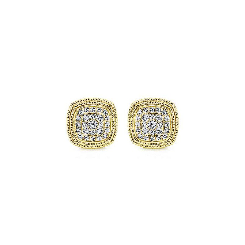 Signature Collection 14k Yellow Gold Diamond Cluster Earrings