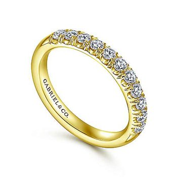 14k Yellow Gold 11 Stone French Pave' Set Wedding Band by Gabriel NY