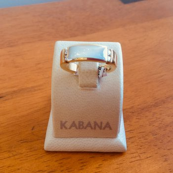 Kabana White Mother of Pearl Inlay and Diamond Ring in 14k Yellow Gold