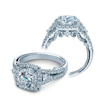 Verragio Insignia 7068CUL- 14k White Gold Cushion Halo Diamond Engagement Ring by Verragio